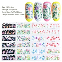 12pc Nail Sticker on Nails Colorful Flower Designs Full Wraps Tips Bloom Water Transfer Foil Decals for Nail Art