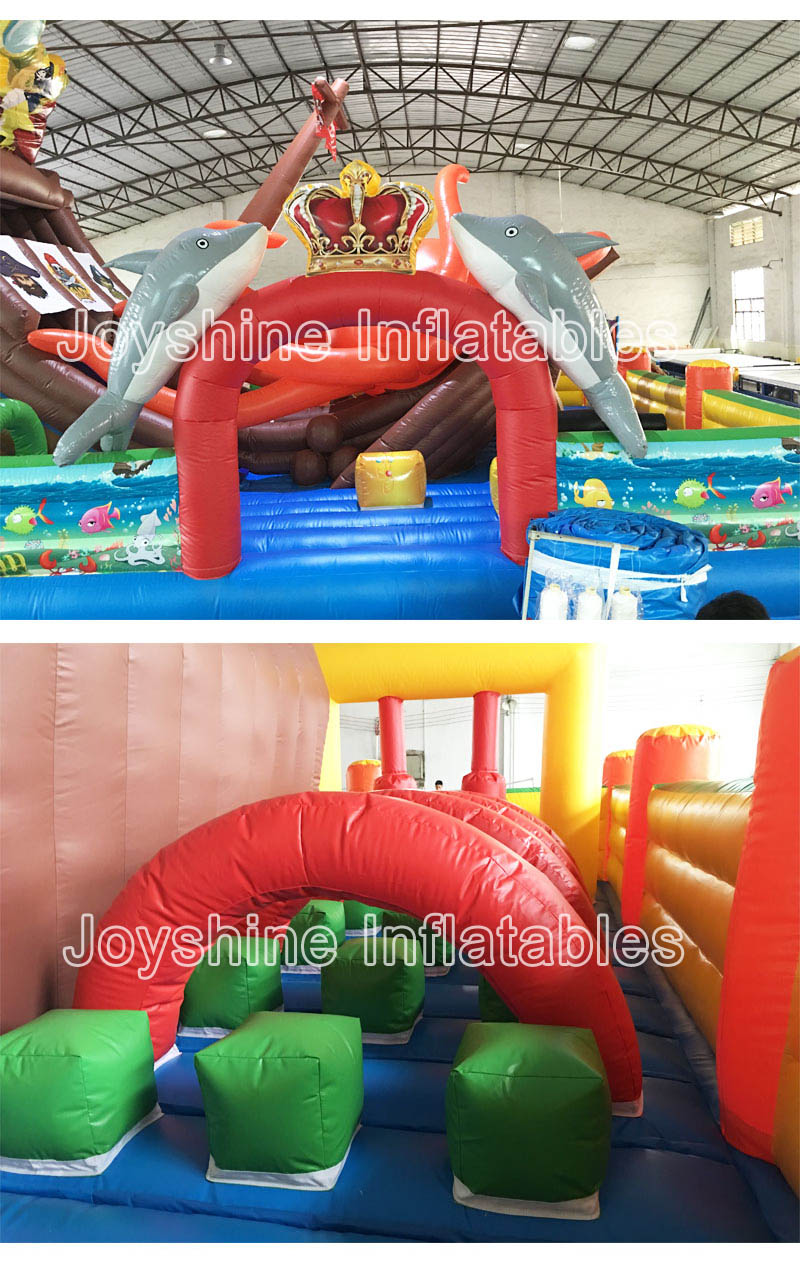 Pirate Ship Themed Inflatable Amusement Park Slide Jumping Castle Bouncer Kids Fun City Playground For Sale