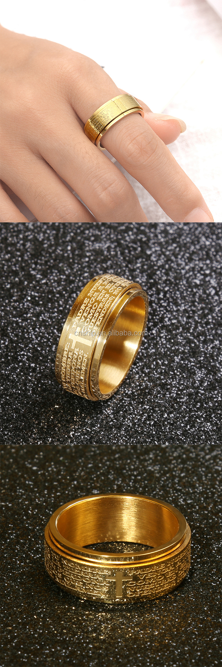 Promotional high polished 18K gold stainless steel bible logo engraved finger ring