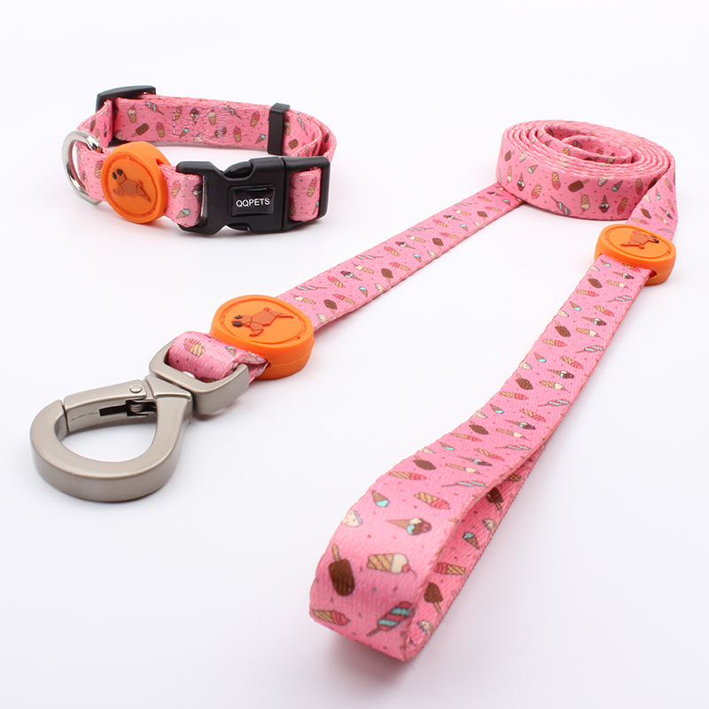 Custom pattern dog accessories nylon woven pet collar and leash no minimum order quantity