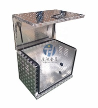 Aluminium checker plate top opening door generator tools storage tool box with heat emession hole