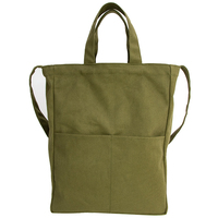 Factory profession custom amy green fashion eco friendly reusable large canvas tote ladies shopping bag