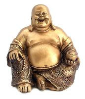 Polyresin Buddha Statue Golden Happy Buddha(Laughing Buddha) Feng Shui for Money and Wealths