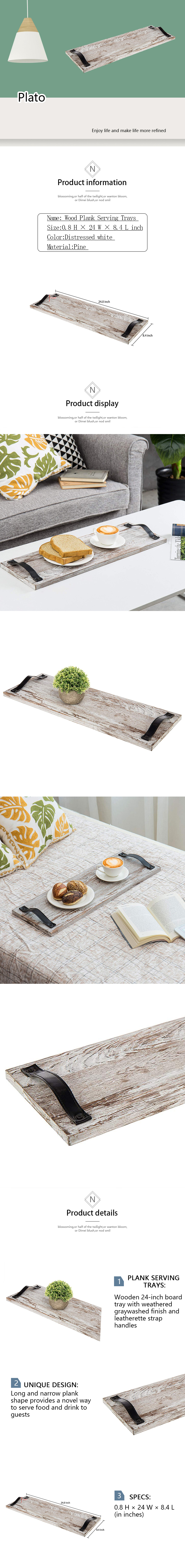 24-Inch  Wood Plank Serving Trays with Strap Handles