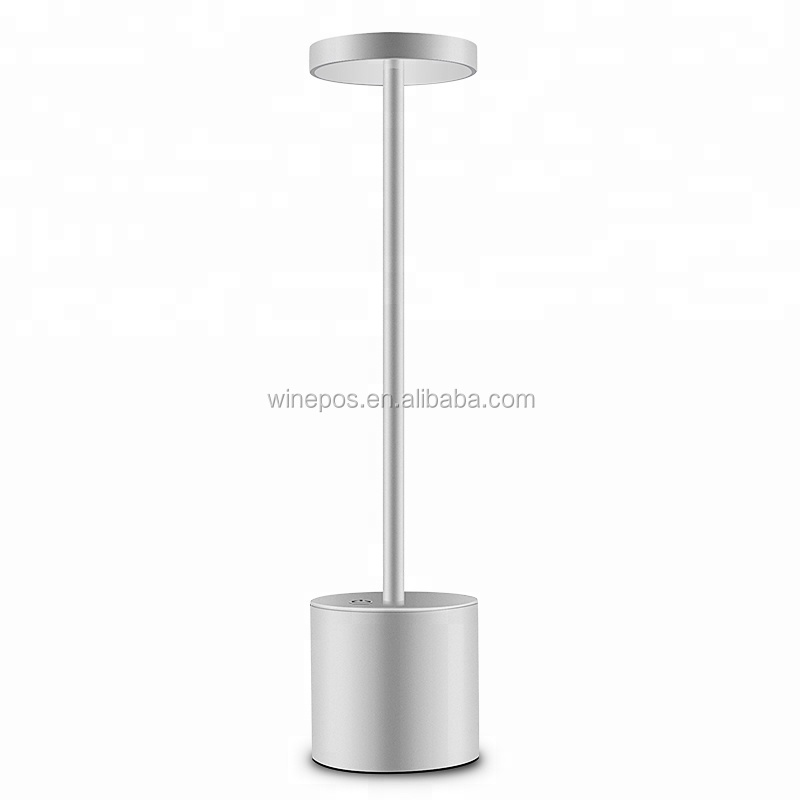 Modern Hotel Style Energy Saving Table lamp Aluminium USB Rechargeable Battery LED Cordless Restaurant Table Lamp For Dinner