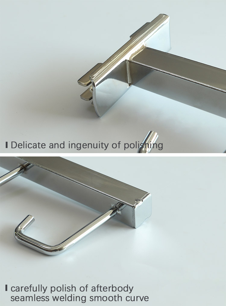 wholesale Metal chrome commercial hooks coat display hook for slotted channel