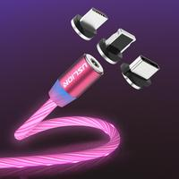 USLION Magnetic Rainbow Led Light Display Glowing Luminous Usb Cable