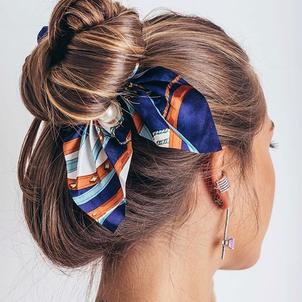 New Chiffon Bowknot Elastic <strong>Hair</strong> Bands For Women Girls Pearl Scrunchies Headband Ties Ponytail Holder <strong>Hair</strong> <strong>Accessories</strong>