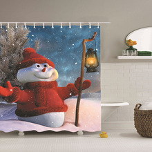 <strong>H107</strong> Home Xmas Bathroom Waterproof Polyester Fabric Shower Curtains Christmas Snowman Santa Claus Pattern Shower Curtain