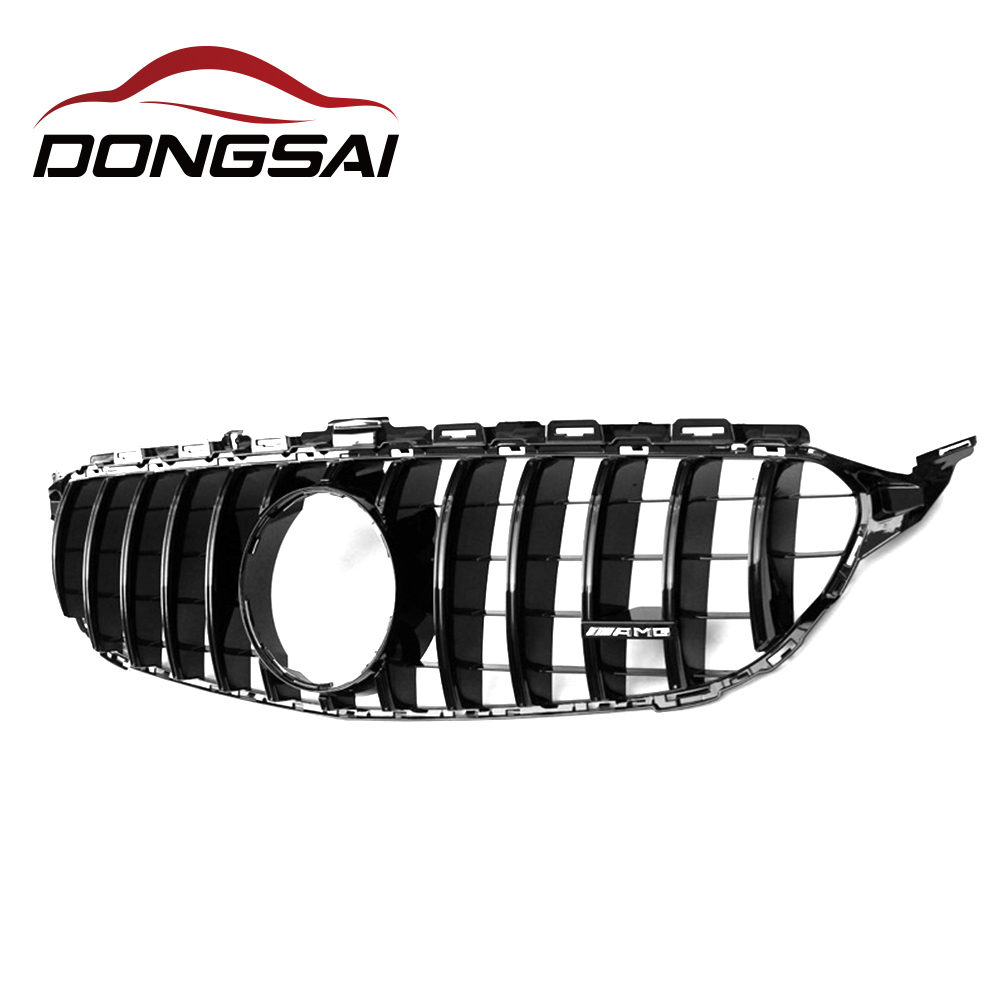 W205 GT R Mesh Grille for Mercedes <strong>C</strong> Class ABS Black Front Bumper Grill Sports C250 C300 C350 abs grille w205