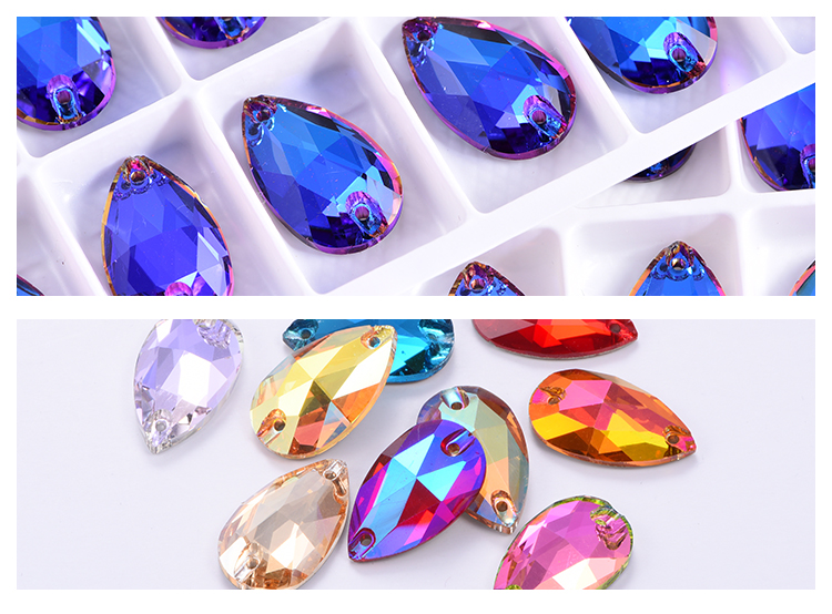 Wholesale 40 Shape Crystal Strass AB Gems Sew on Clothing 13x18mm Teardrop Flatback Glass Sewing Rhinestones for Women Dresses