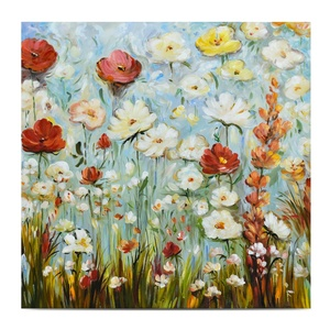 Hand-drawn Deco Textured Flower Canvas Wall Art Floral Wall Painting in Acrylic
