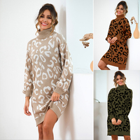 women's turtleneck pullover sweater autumn winter clothes long leopard sweater plus size fashion knit sweater dress jumper
