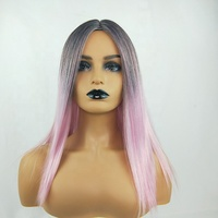 Long straight wig cosplay mix color synthetic wig pink fiber heat resistant lady sexy hair