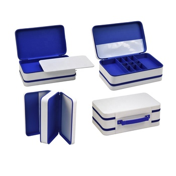 Luxury high quality custom handmade blue and white pvc leather  small  jewelry box boxes for jewelry packing