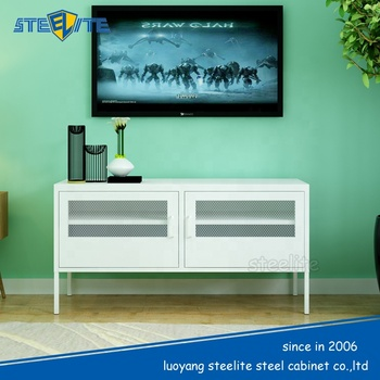 Korean Popular Tv Cabinet Metal White Tv Stand Low Cupboard On Sale