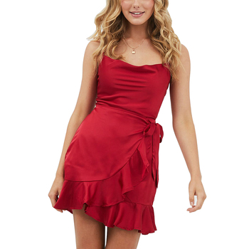 Women's solid color Spaghetti Strap lotus leaf satin short red dress
