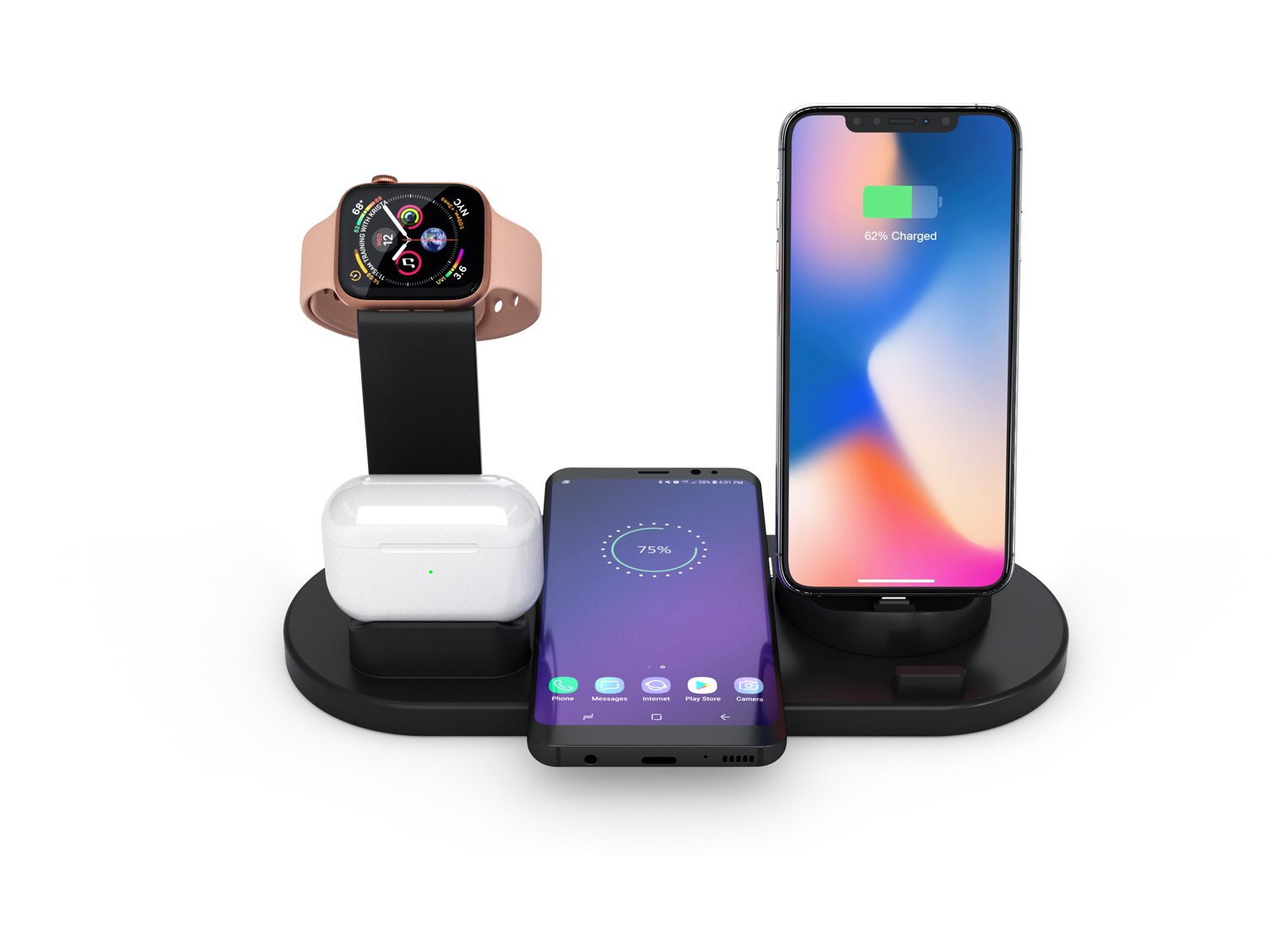 Wireless Charger 4 in 1 Wireless Charging Dock for Apple Watch and Airpods Charging Station for Multiple Devices