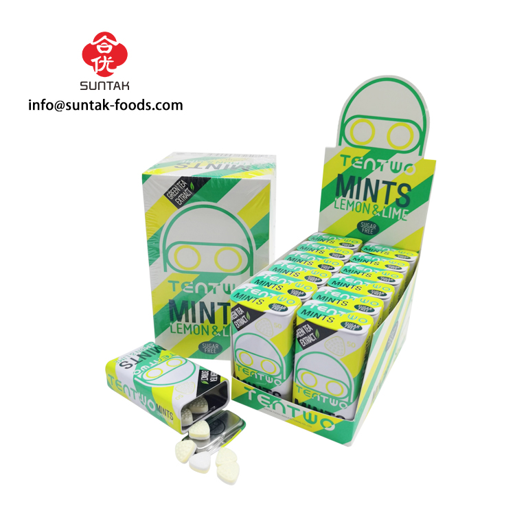 Xylitol Mint Sugar Free Tablet Candy In Tin Box With Custom Logo Design