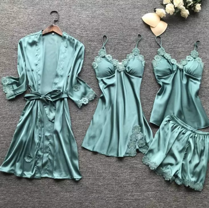 New retail products four pieces sets women summer homewear bridal robe silk bathrobe