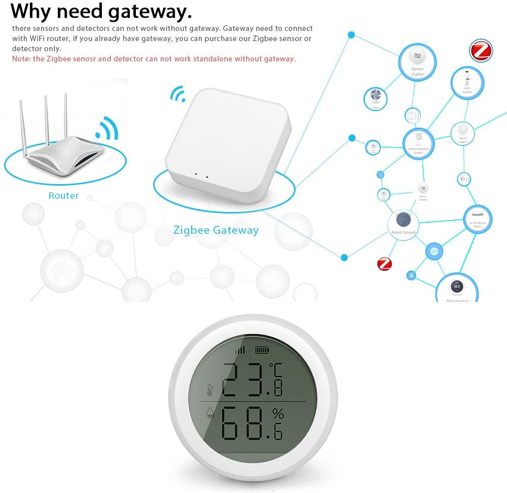 ZigBee Tuya WiFi Wireless Wall Humidity Sensor Humidity Sensor Smart Temperature Humidity Sensor