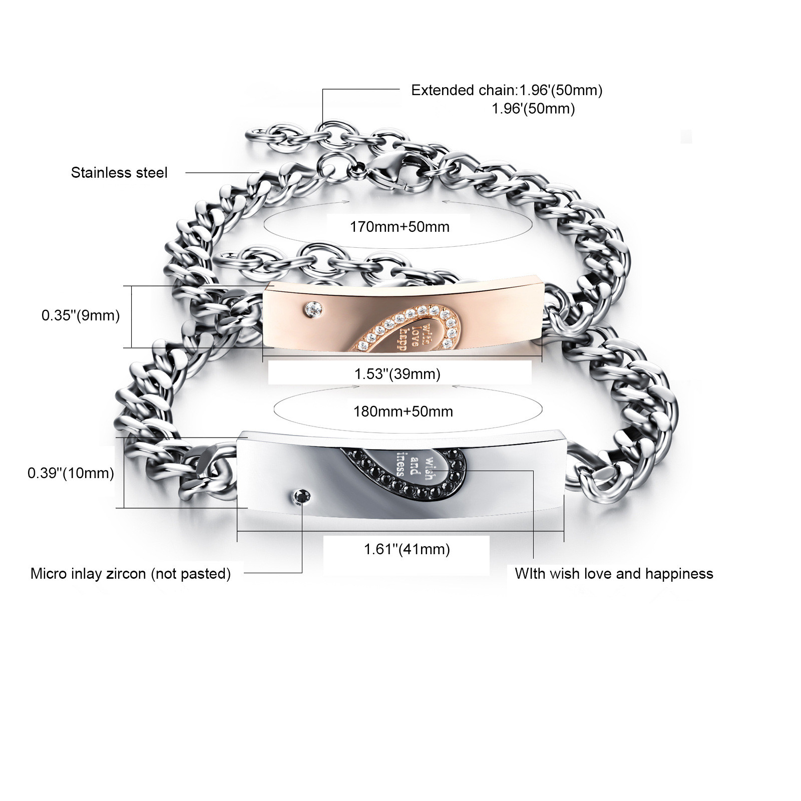 Fashion Design Stainless Steel Couple Bangle Heart Letter Puzzles Inset Zircon Chain Link Bracelets For Couple