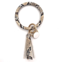 Best Selling Large Circle Tassel Leather Bracelet Key Ring