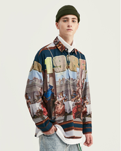 Spring Top Fashion Character Printed Vintage Long Sleeve Casual <strong>Men</strong> <strong>Shirt</strong>