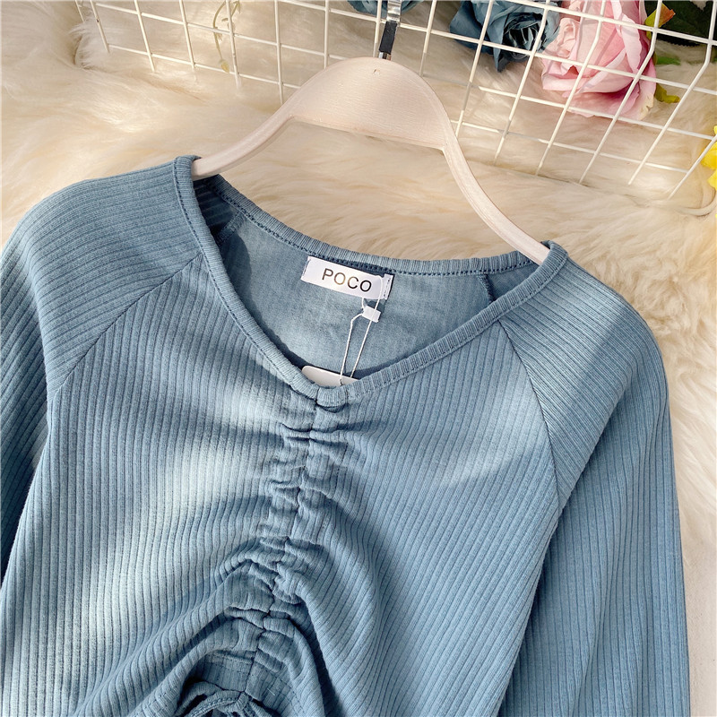 2020 V Neck Lantern Long Sleeve Drawstring Bottom T Shirt Ins Multi color Hollow Out Lumber Tees Slim Pleat Top
