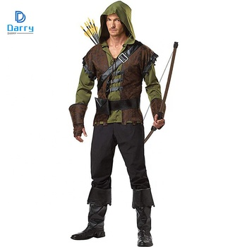 Men Robin Hood Green Arrow Costume For Halloween Dress Up Party