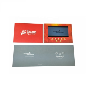 High Quality Promotion 7 inch Digital Lcd Video Screen Greeting Cards Video Brochure Book With 350g Paper