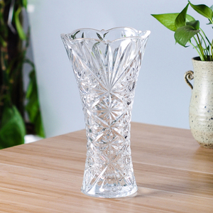 Wholesale heavy home decoration flower round clear glass vases