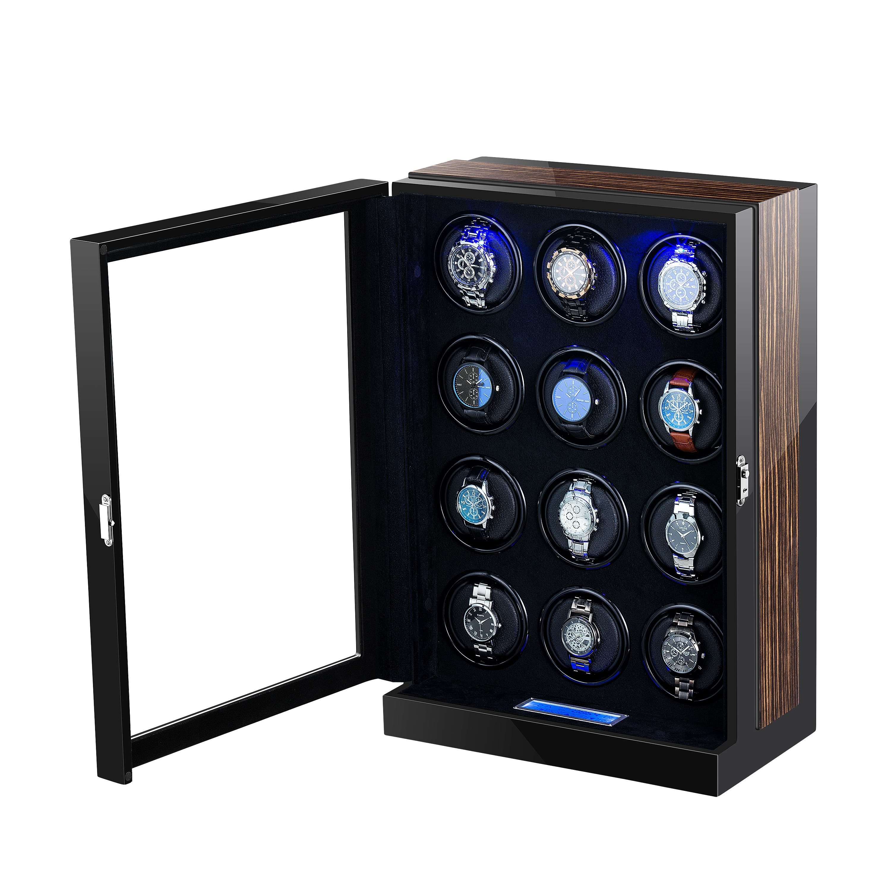 China automatic watch winder box 12 rotors watch winder with touch screen and two led lights