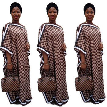 90820-MX27 Square printed Batwing Sleeve design dress ladies africa clothing