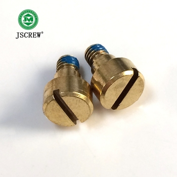 widely use cup head slotted step shoulder brass anti-loose machine screw with blue sticking