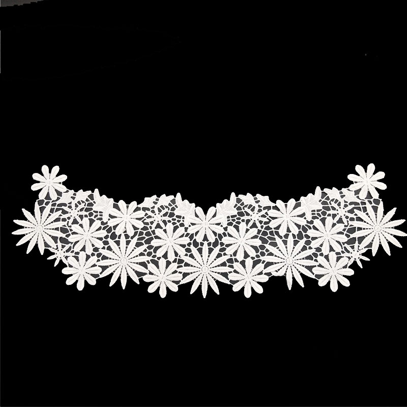 milk polyester flower embroidery lace collar