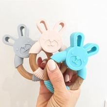 BPA Free Pure Food Grade Teething Organic Animal Bunny Natural Wood and Silicone Baby Teether Chew Toy Ring