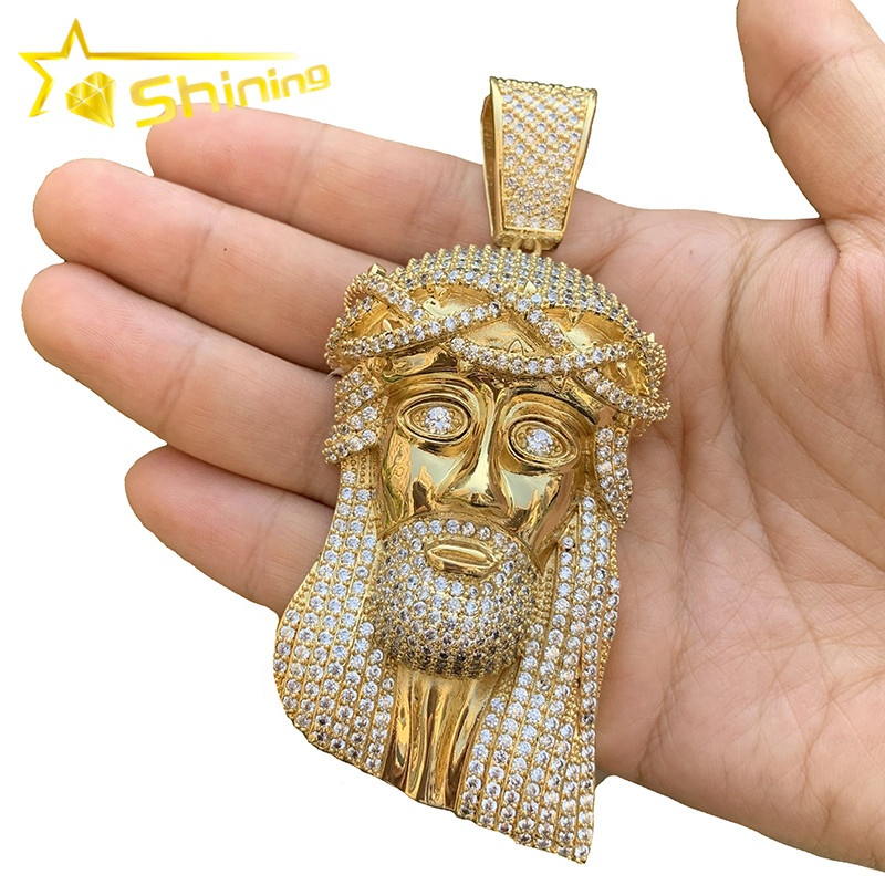 Real Gold Plated Custom Piece XL Lab Diamond Big Jesus Face Pendant <strong>Charm</strong>