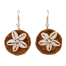 Various Handmade Bohemian Straw Rattan Bamboo Knit Shell Drop Earrings Big Circular Pendant Statement Jewelry For Women
