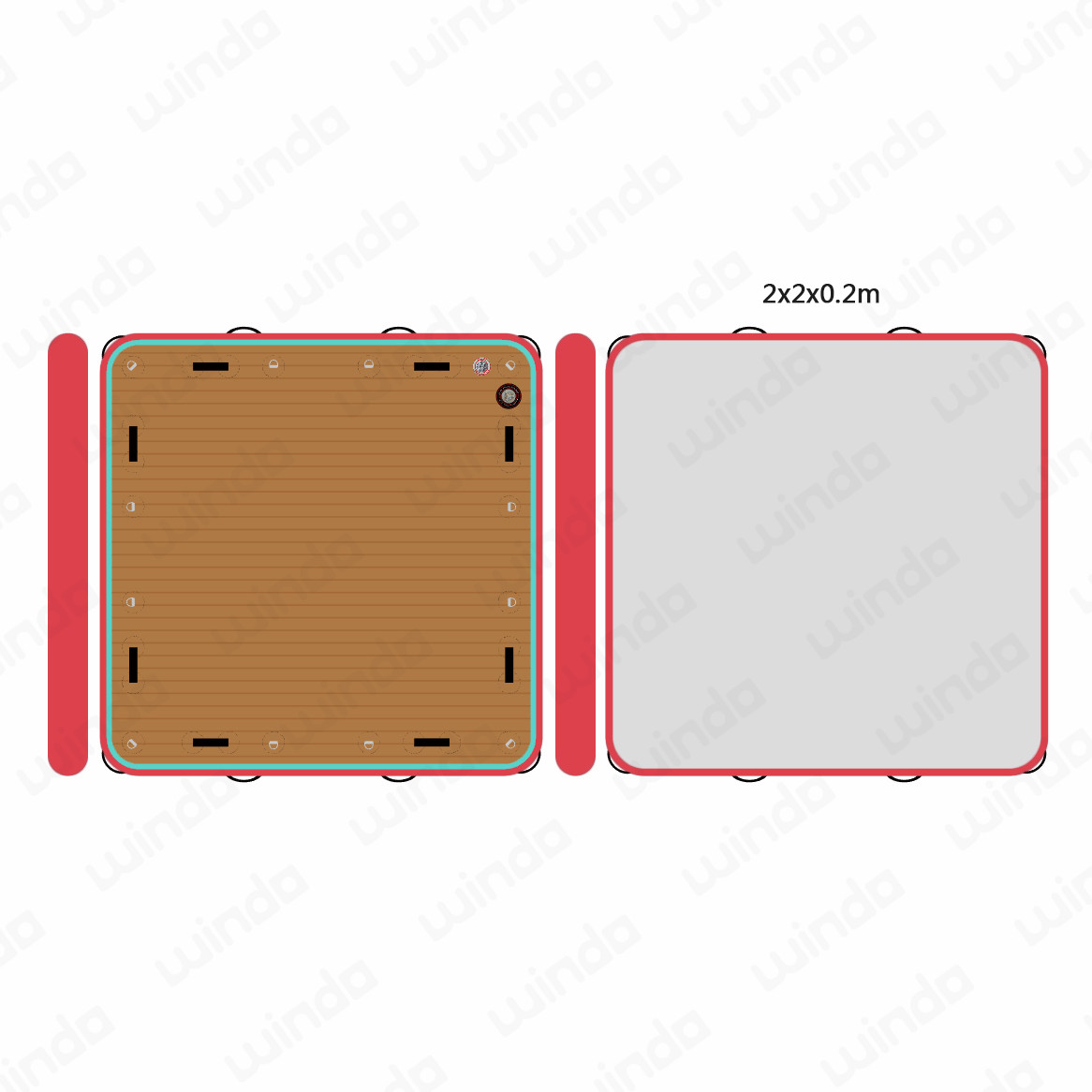 2x2x0.2m Drop stitch Teak red Inflatable <strong>water</strong> swim Jet-ski yacht fishing dock aqua sea floating pontoon platform