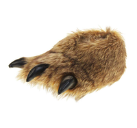 Faux Fur Monster Claws Bulldog Dog Novelty Plush Slippers