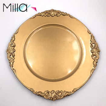 Hot Sale Cheap Emboss Gold Polypropylene Charger Plates Wholesale