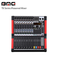 Professional 8 channel 650W powered mixer and audio mixer power for home karaoke with 2*650W output for speakers