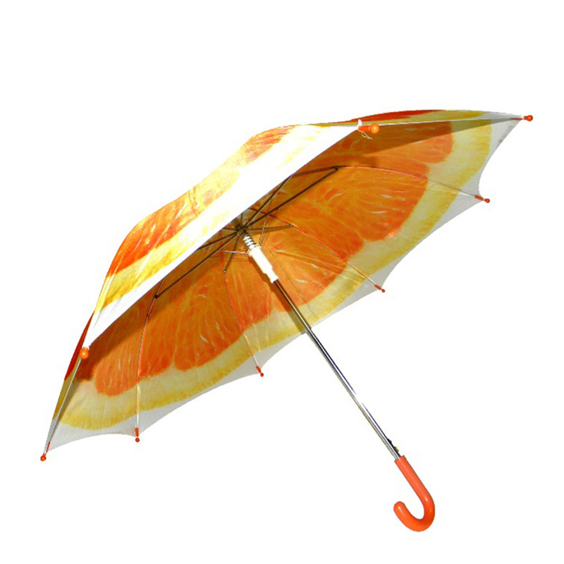 Summer Fashion Orange Full Print Kids 21inch*8K Straight Umbrella with <strong>J</strong> handle