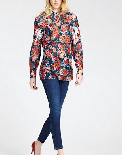 Fashion Floral Neck Bodysuit Women women Ladies Classical Elegant Long Sleeve Design Polyester Cotton Custom Print
