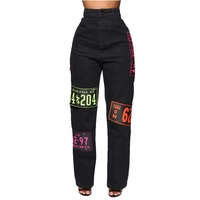 Custom made jeans knee patches denim ripped jeans straight style for ladies