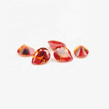 Top Machine Cut Orange Red Color Pear Shape aaaaa Cubic Zirconia