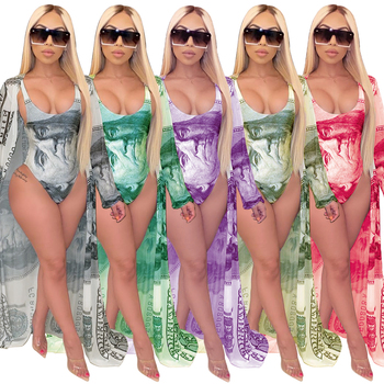 2020 sexy little young models multicolor printing cape two piece set bikini Swimwear