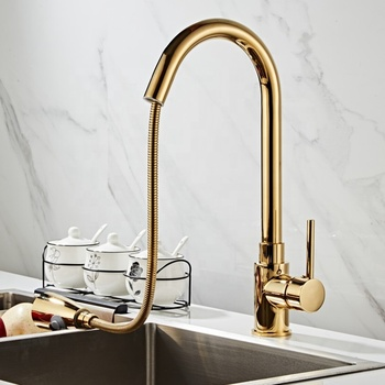 New Design Golden Kitchen Faucets Silver Single Handle Pull Out Kitchen Tap Single Hole Handle Swivel 360 Degree kitchen faucet