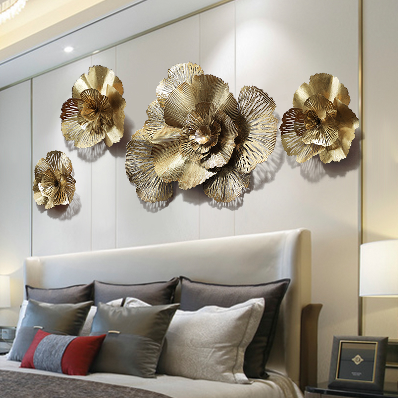 Home Display Room Lobby Large Hollow Gold Iron Flower Wall Hanging <strong>Decoration</strong>